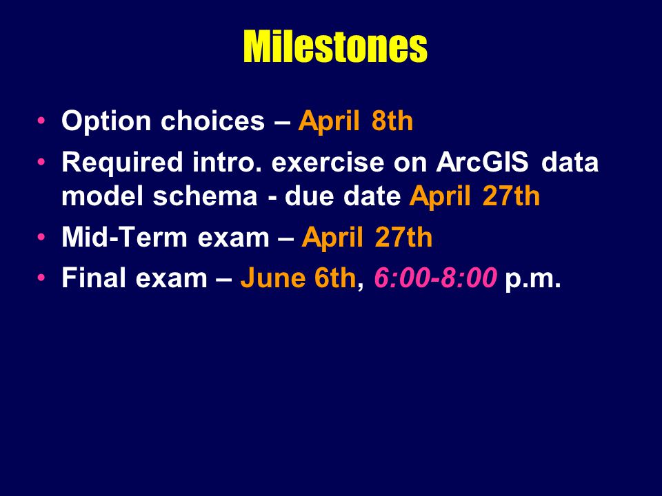 Milestones Option choices – April 8th Required intro.