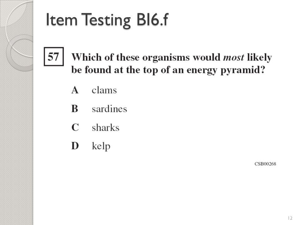 Item Testing BI6.f 12