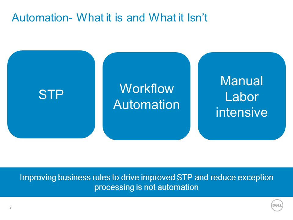 2 Automation- What it is and What it Isn't STP Improving business rules to drive improved STP and reduce exception processing is not automation Workfl