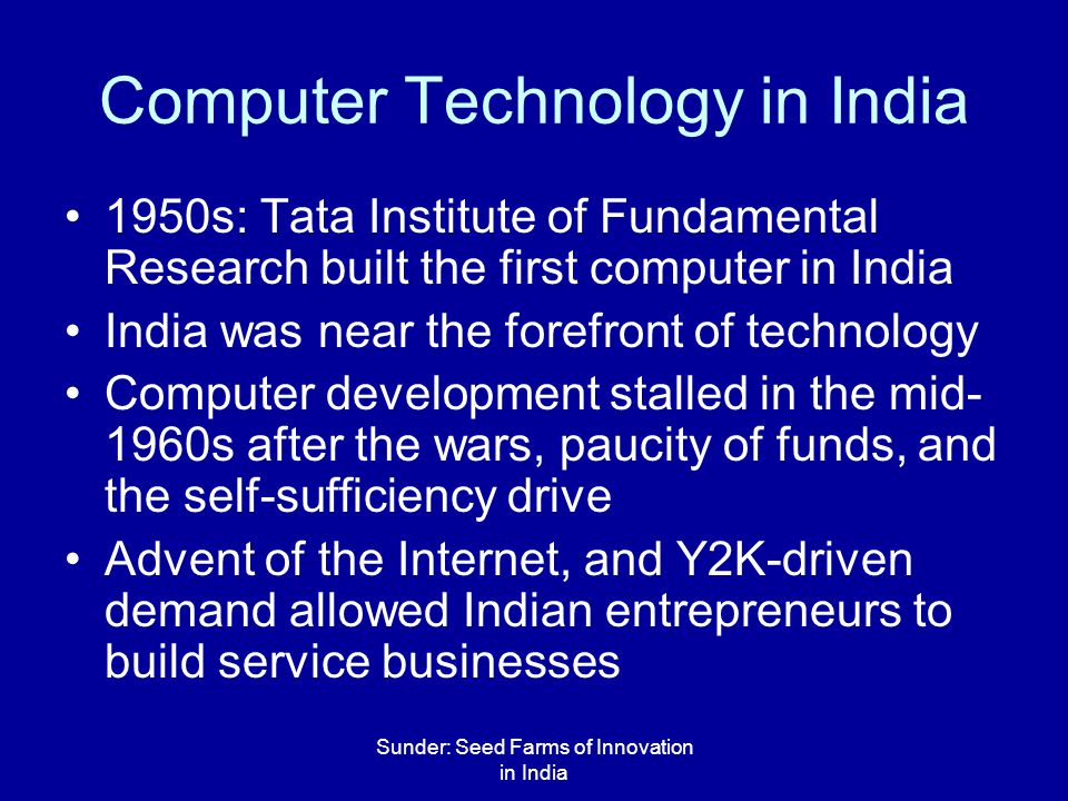 Sunder: Seed Farms of Innovation in India What Should India Do.