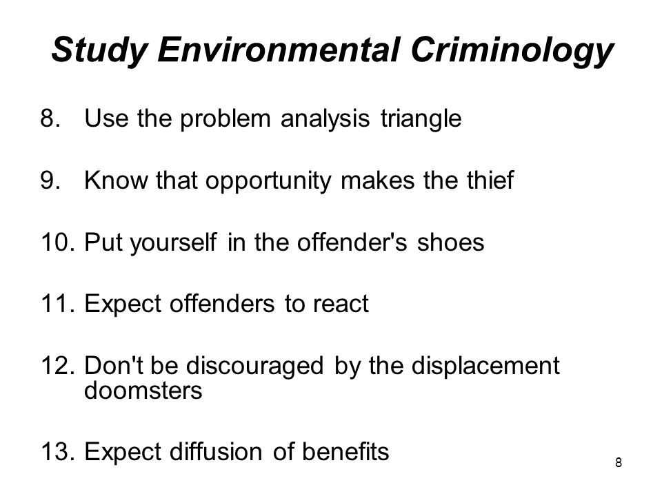 9 Scan for Crime Problems 14.Use the CHEERS test when defining problems 15.