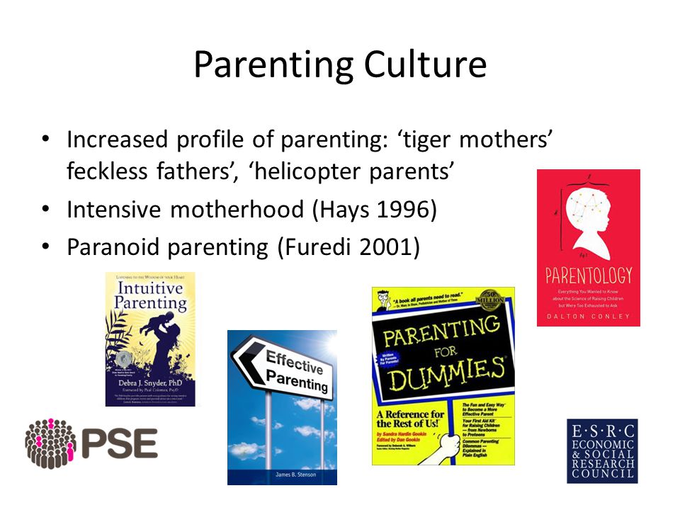 Parenting Culture Increased profile of parenting: 'tiger mothers' feckless fathers', 'helicopter parents' Intensive motherhood (Hays 1996) Paranoid parenting (Furedi 2001)