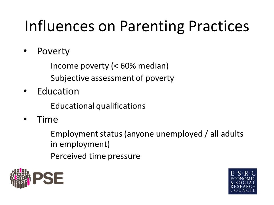 Influences on Parenting Practices Poverty Income poverty (< 60% median) Subjective assessment of poverty Education Educational qualifications Time Employment status (anyone unemployed / all adults in employment) Perceived time pressure