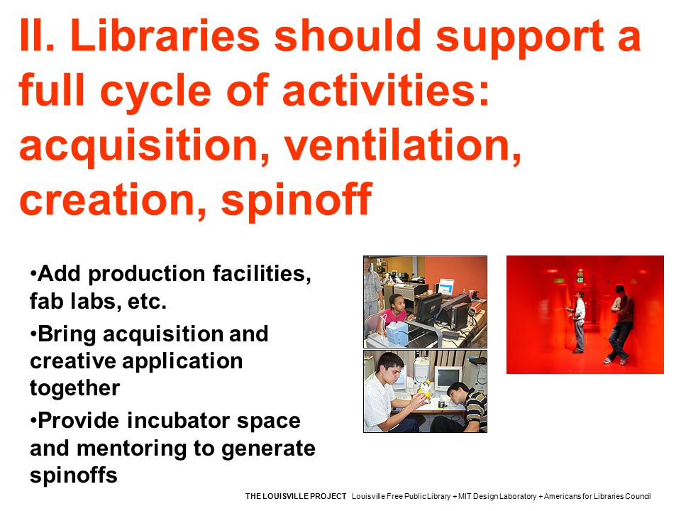 II. Libraries should support a full cycle of activities: acquisition, ventilation, creation, spinoff THE LOUISVILLE PROJECT Louisville Free Public Lib
