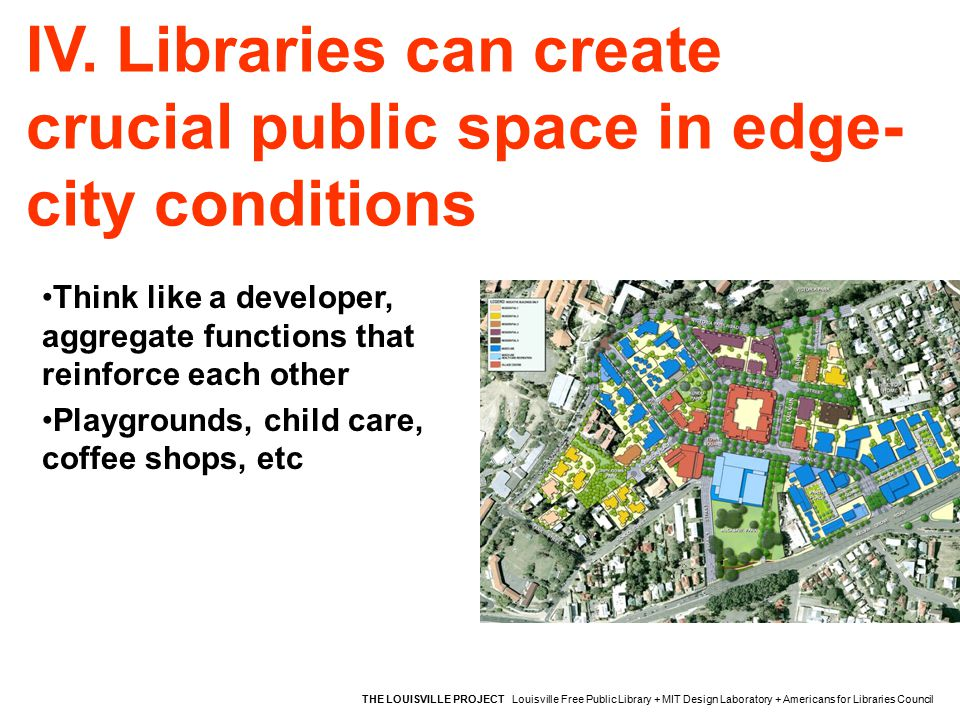 IV. Libraries can create crucial public space in edge- city conditions THE LOUISVILLE PROJECT Louisville Free Public Library + MIT Design Laboratory +
