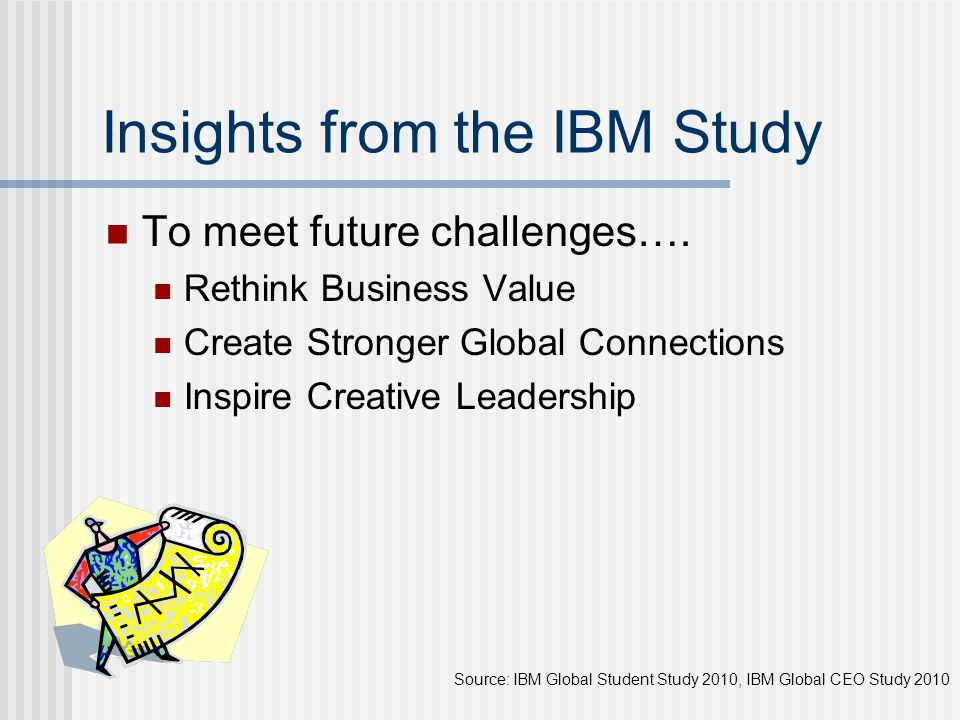 Insights from the IBM Study To meet future challenges…. Rethink Business Value Create Stronger Global Connections Inspire Creative Leadership Source:
