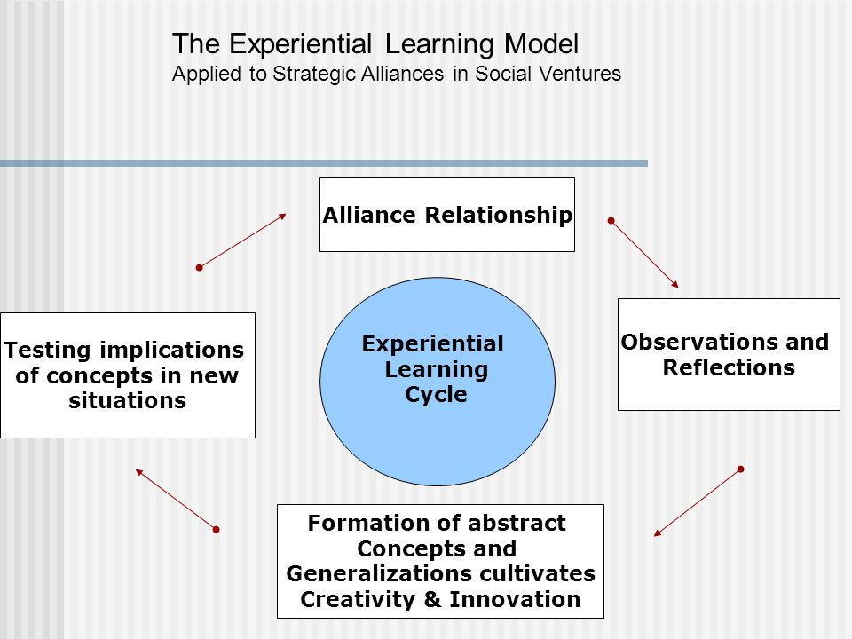 Alliance Relationship Observations and Reflections Formation of abstract Concepts and Generalizations cultivates Creativity & Innovation Experiential