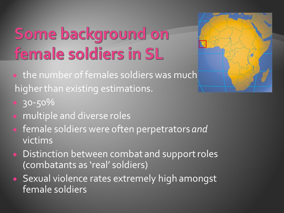  the number of females soldiers was much higher than existing estimations.
