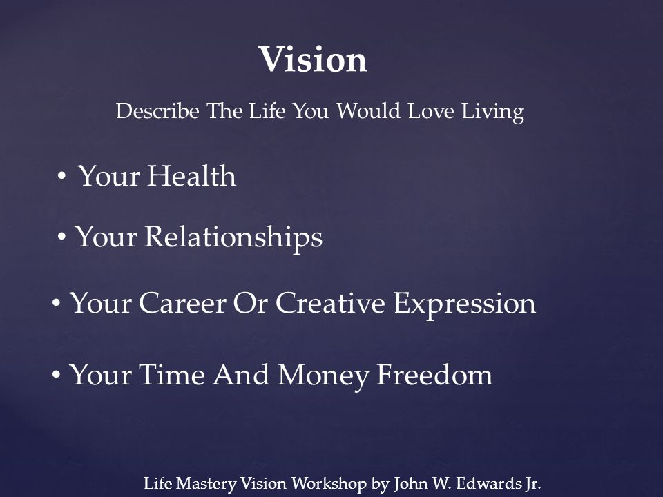 Vision Describe The Life You Would Love Living Your Health Your Relationships Your Career Or Creative Expression Your Time And Money Freedom Life Mastery Vision Workshop by John W.