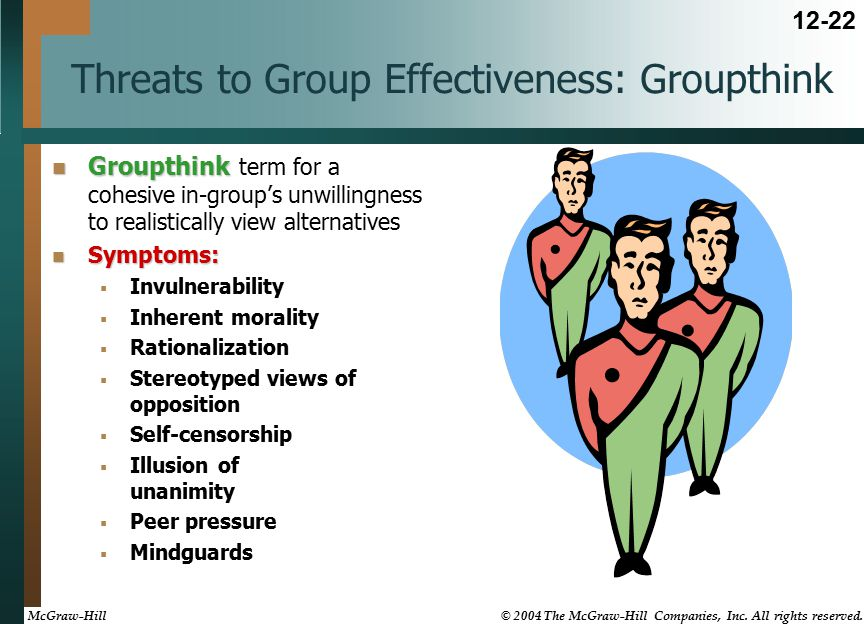 Threats to Group Effectiveness: Groupthink Groupthink Groupthink term for a cohesive in-group's unwillingness to realistically view alternatives Symptoms: Symptoms:  Invulnerability  Inherent morality  Rationalization  Stereotyped views of opposition  Self-censorship  Illusion of unanimity  Peer pressure  Mindguards 12-22 McGraw-Hill © 2004 The McGraw-Hill Companies, Inc.