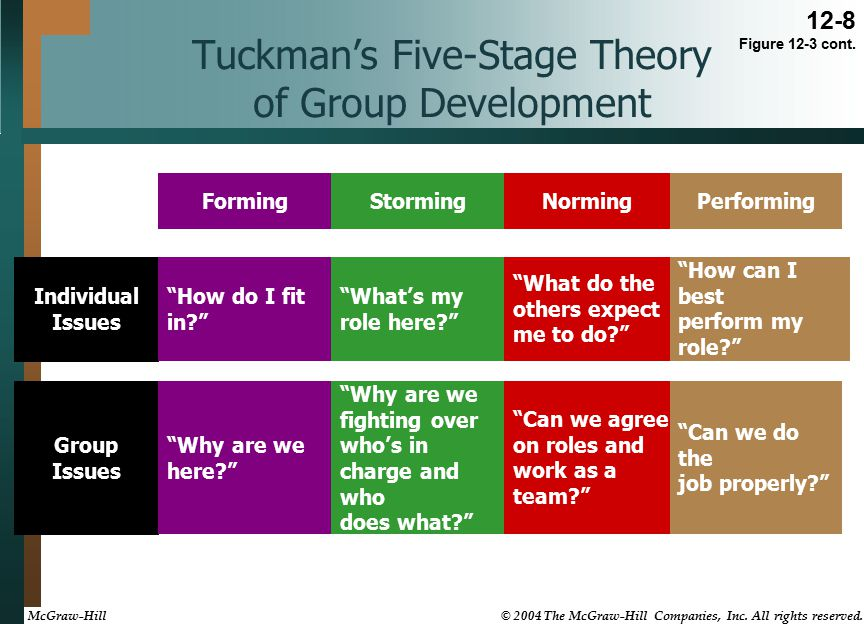 Tuckman's Five-Stage Theory of Group Development Individual Issues FormingStormingNormingPerforming How do I fit in What's my role here What do the others expect me to do How can I best perform my role Group Issues Why are we here Why are we fighting over who's in charge and who does what Can we agree on roles and work as a team Can we do the job properly 12-8 Figure 12-3 cont.
