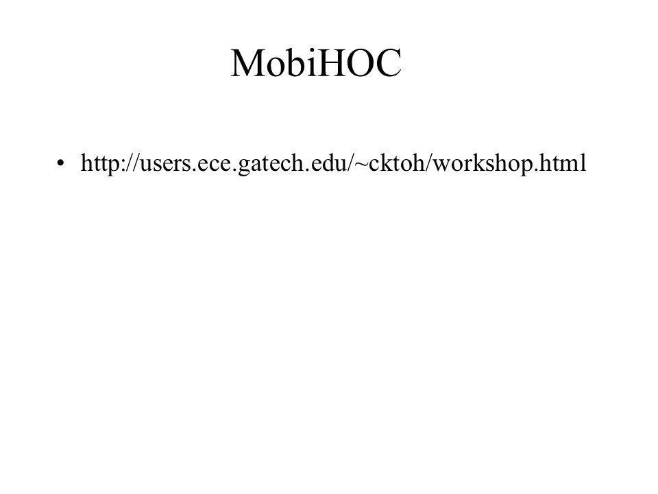 MobiHOC http://users.ece.gatech.edu/~cktoh/workshop.html