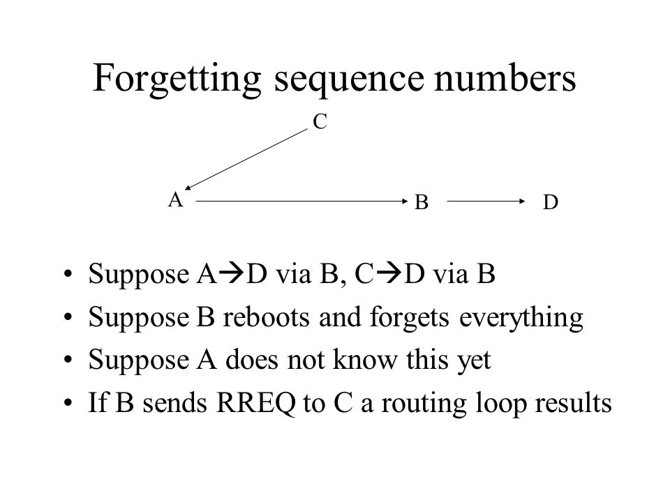 Forgetting sequence numbers Suppose A  D via B, C  D via B Suppose B reboots and forgets everything Suppose A does not know this yet If B sends RREQ to C a routing loop results A B C D