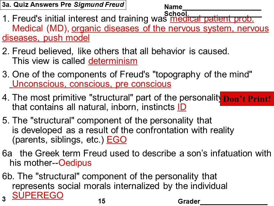 3a. Quiz Answers Pre Sigmund Freud 1. Freud's initial interest and training was medical patient prob. Medical (MD), organic diseases of the nervous sy