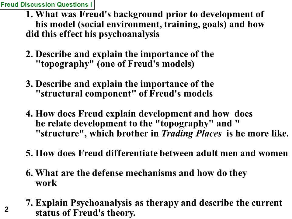 Freud Discussion Questions I 1.