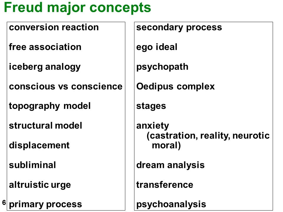 Freud major concepts conversion reaction free association iceberg analogy conscious vs conscience topography model structural model displacement subli