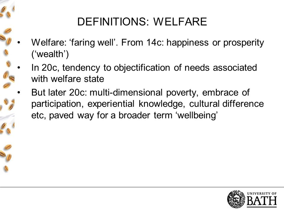 DEFINITIONS: WELFARE Welfare: 'faring well'.