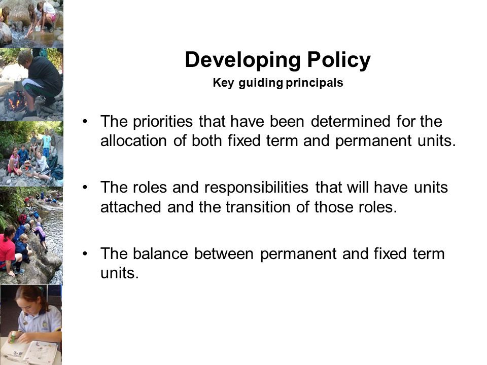 Developing Policy Key guiding principals The priorities that have been determined for the allocation of both fixed term and permanent units.