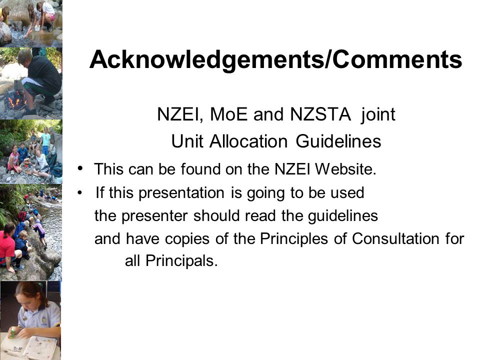 NZEI, MoE and NZSTA joint Unit Allocation Guidelines This can be found on the NZEI Website.