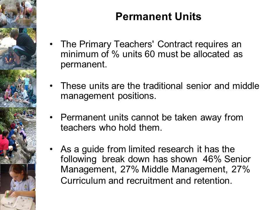Permanent Units The Primary Teachers Contract requires an minimum of % units 60 must be allocated as permanent.
