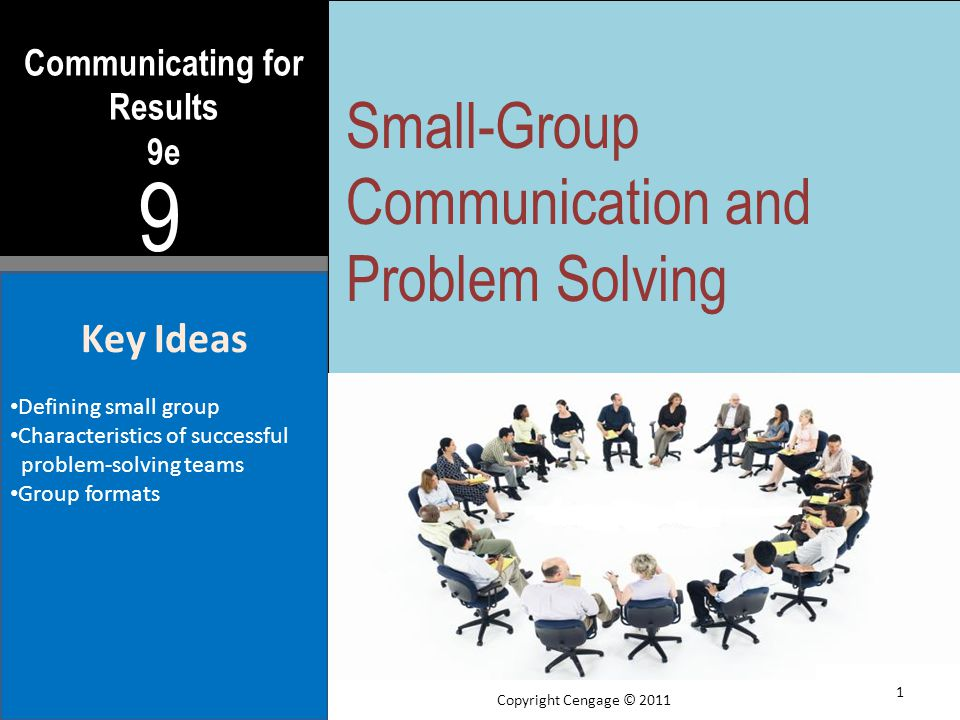 Communicating for Results 9e 9 Key Ideas Defining small group Characteristics of successful problem-solving teams Group formats Small-Group Communication and Problem Solving 1 Copyright Cengage © 2011