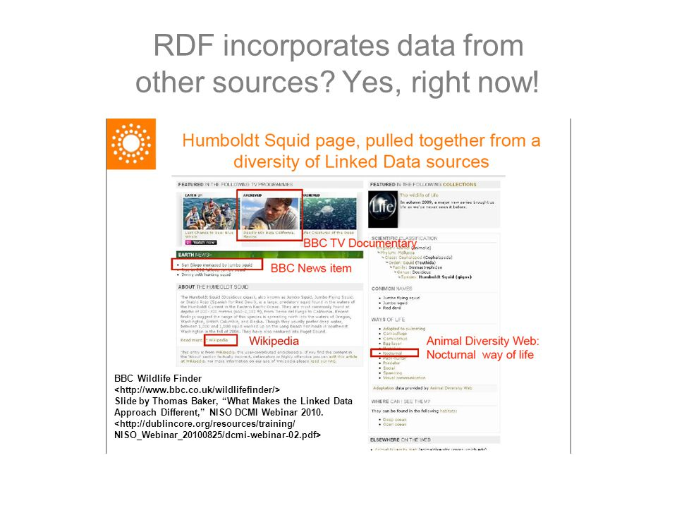"""RDF incorporates data from other sources? Yes, right now! BBC Wildlife Finder Slide by Thomas Baker, """"What Makes the Linked Data Approach Different,"""""""