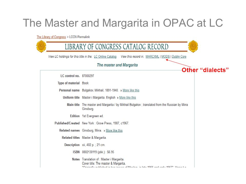 The Master and Margarita in OPAC at LC Other dialects
