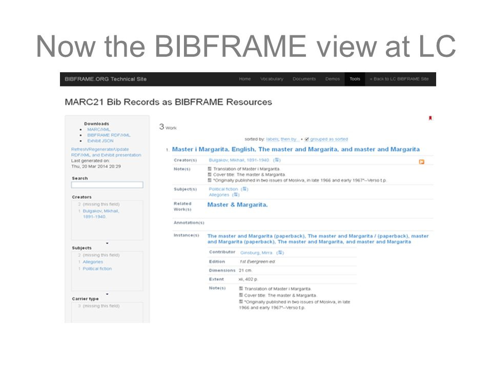 Now the BIBFRAME view at LC
