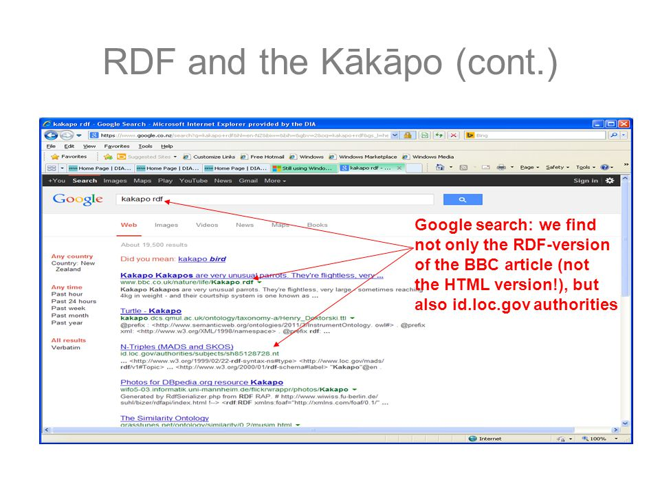 RDF and the Kākāpo (cont.) Google search: we find not only the RDF-version of the BBC article (not the HTML version!), but also id.loc.gov authorities