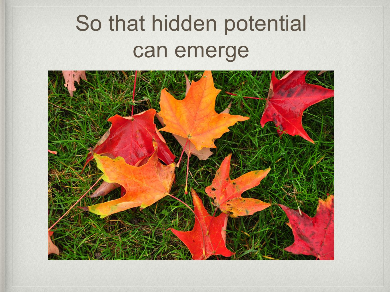 So that hidden potential can emerge