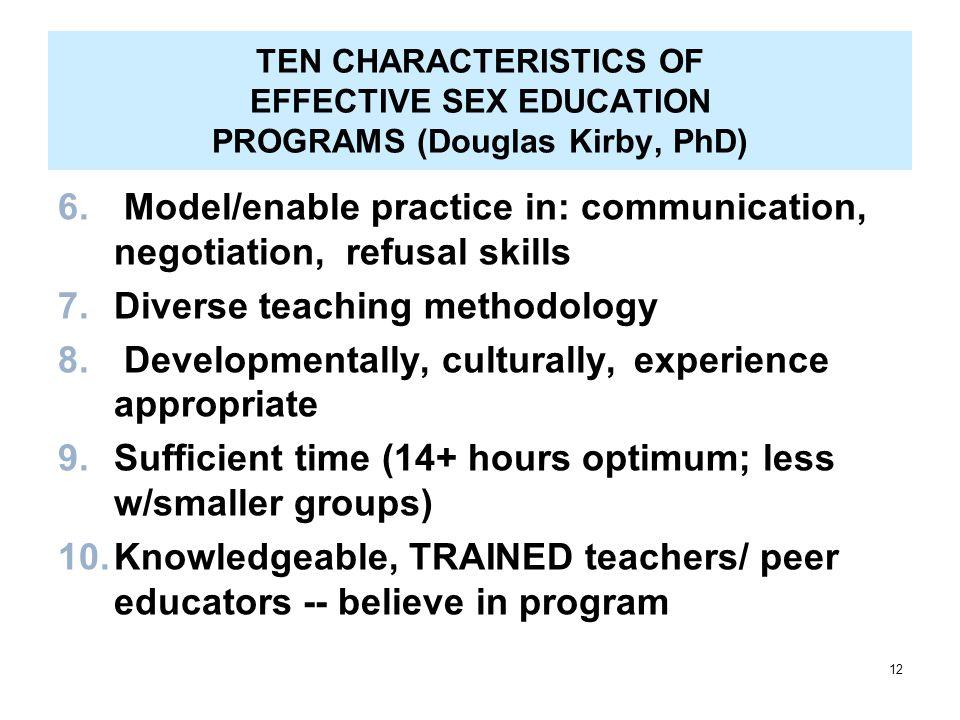12 TEN CHARACTERISTICS OF EFFECTIVE SEX EDUCATION PROGRAMS (Douglas Kirby, PhD) 6.