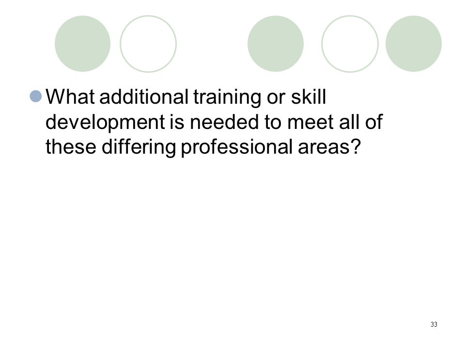 33 What additional training or skill development is needed to meet all of these differing professional areas?