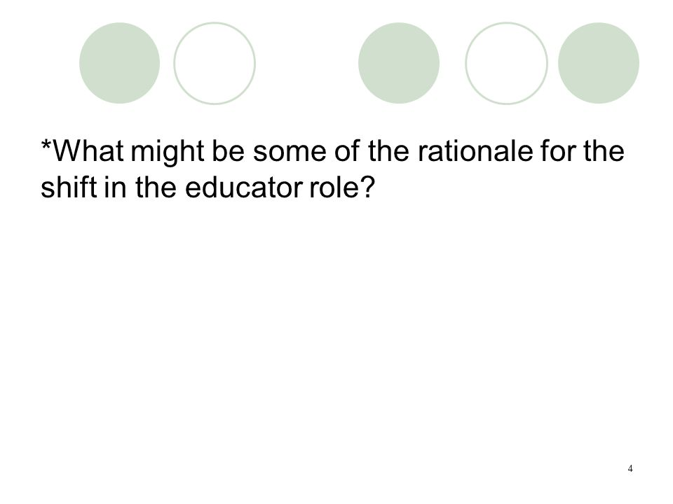 4 *What might be some of the rationale for the shift in the educator role