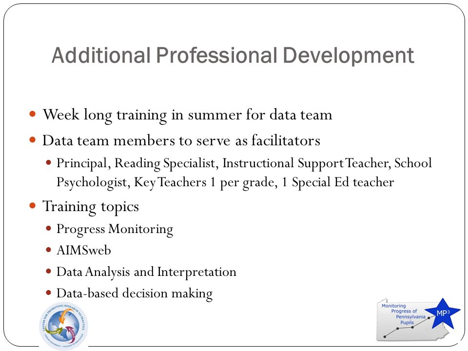 Additional Professional Development Week long training in summer for data team Data team members to serve as facilitators Principal, Reading Specialist, Instructional Support Teacher, School Psychologist, Key Teachers 1 per grade, 1 Special Ed teacher Training topics Progress Monitoring AIMSweb Data Analysis and Interpretation Data-based decision making