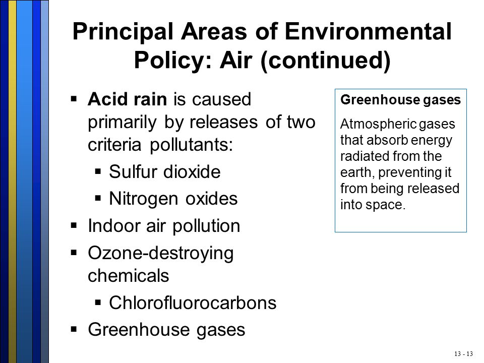 13 - 13 Principal Areas of Environmental Policy: Air (continued)  Acid rain is caused primarily by releases of two criteria pollutants:  Sulfur dioxide  Nitrogen oxides  Indoor air pollution  Ozone-destroying chemicals  Chlorofluorocarbons  Greenhouse gases Greenhouse gases Atmospheric gases that absorb energy radiated from the earth, preventing it from being released into space.
