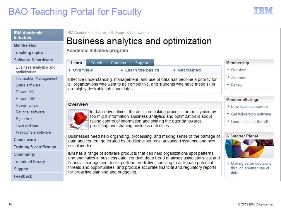 © 2012 IBM Corporation15 BAO Teaching Portal for Faculty