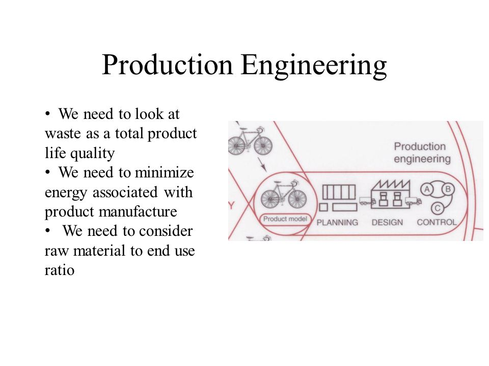 Production Engineering We need to look at waste as a total product life quality We need to minimize energy associated with product manufacture We need