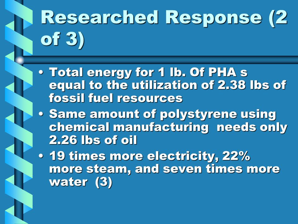 Researched Response (2 of 3) Total energy for 1 lb.