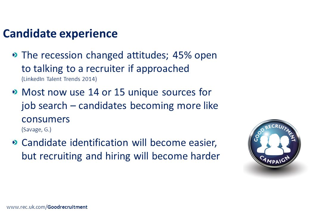 Candidate experience www.rec.uk.com/Goodrecruitment The recession changed attitudes; 45% open to talking to a recruiter if approached (LinkedIn Talent Trends 2014) Most now use 14 or 15 unique sources for job search – candidates becoming more like consumers (Savage, G.) Candidate identification will become easier, but recruiting and hiring will become harder