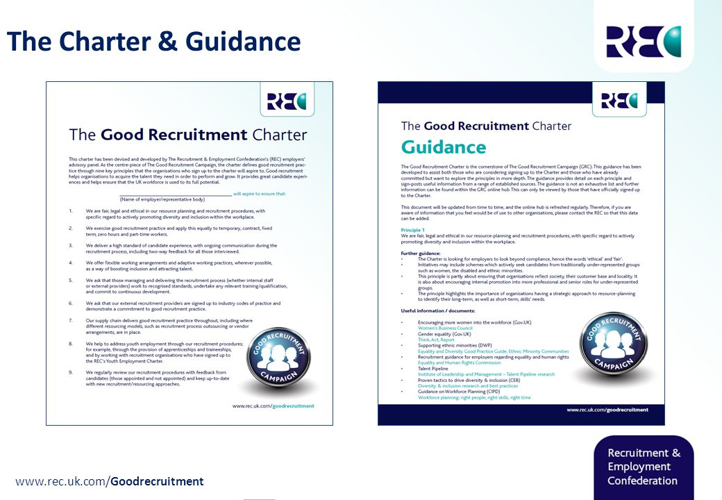 The Charter & Guidance www.rec.uk.com/Goodrecruitment