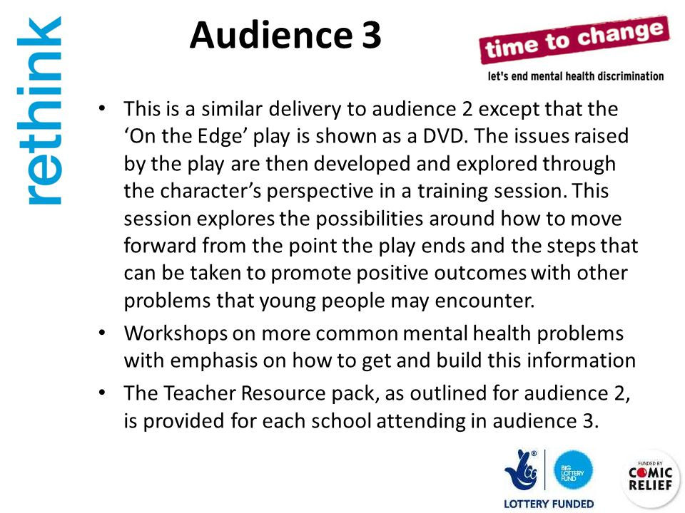 Audience 3 This is a similar delivery to audience 2 except that the 'On the Edge' play is shown as a DVD.