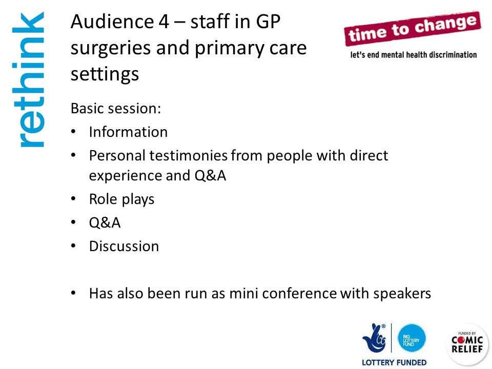 Audience 4 – staff in GP surgeries and primary care settings Basic session: Information Personal testimonies from people with direct experience and Q&A Role plays Q&A Discussion Has also been run as mini conference with speakers