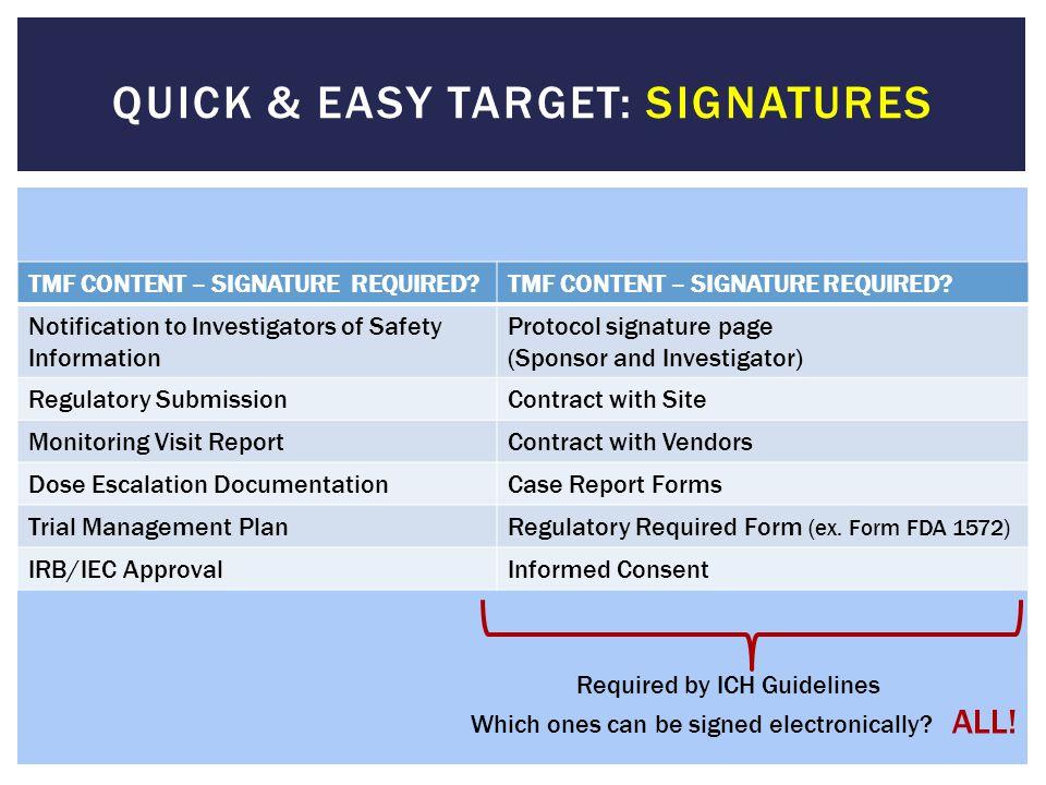 TMF CONTENT – SIGNATURE REQUIRED? Notification to Investigators of Safety Information Protocol signature page (Sponsor and Investigator) Regulatory Su