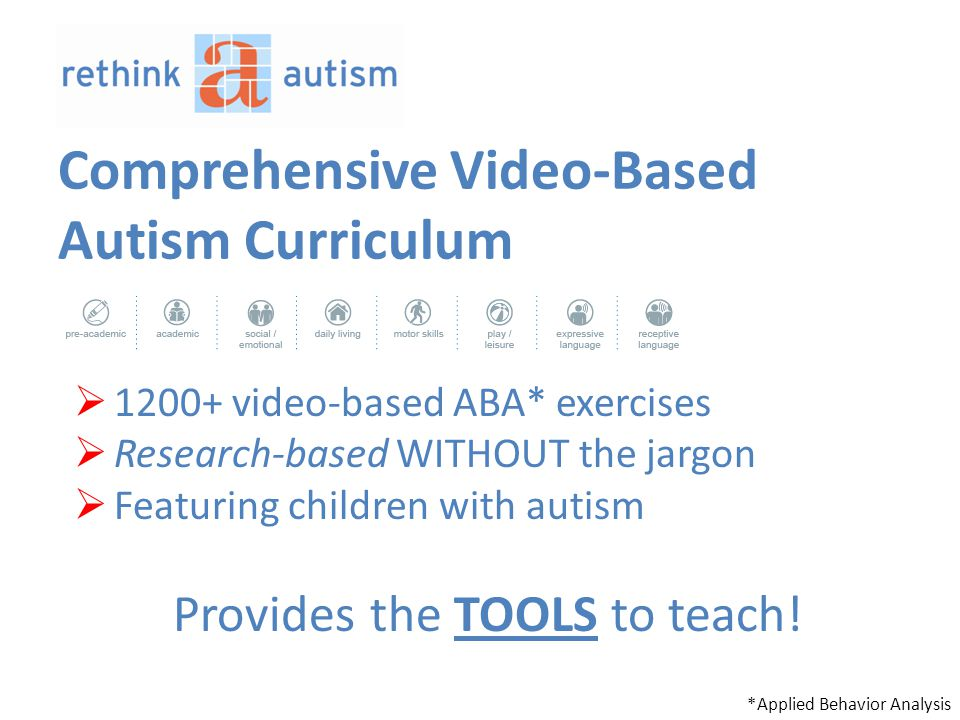 Comprehensive Video-Based Autism Curriculum  1200+ video-based ABA* exercises  Research-based WITHOUT the jargon  Featuring children with autism Provides the TOOLS to teach.