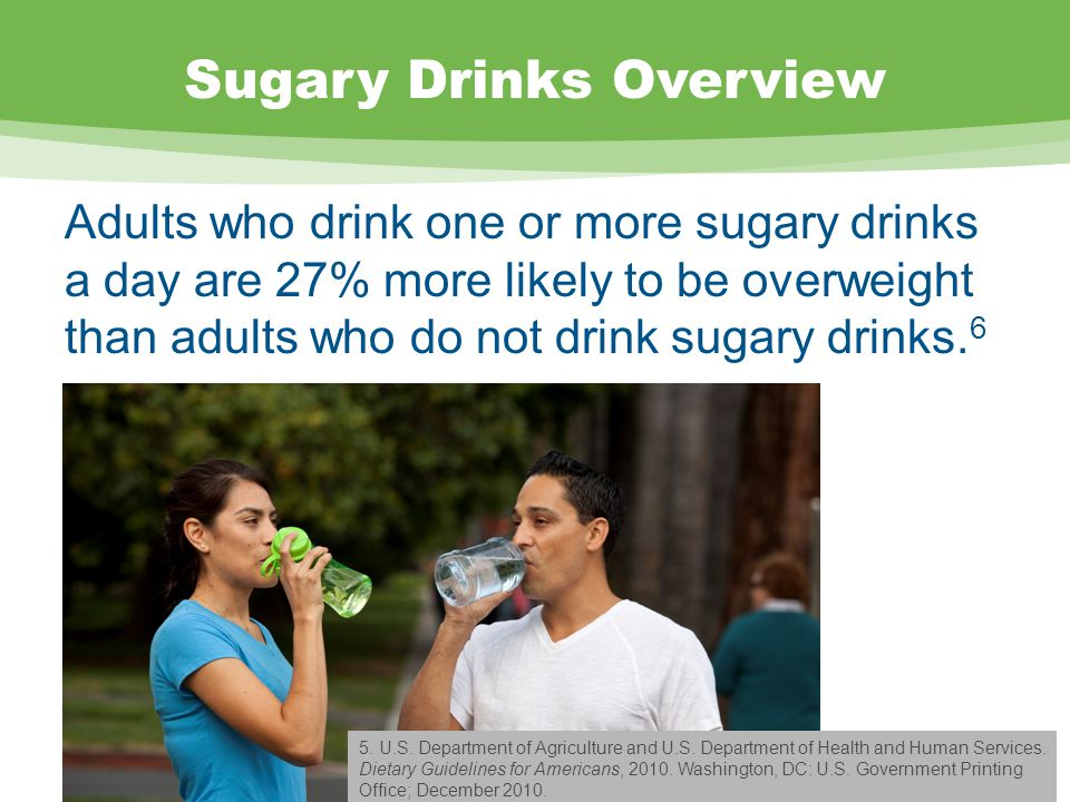 Sugary Drinks Overview Adults who drink one or more sugary drinks a day are 27% more likely to be overweight than adults who do not drink sugary drinks.