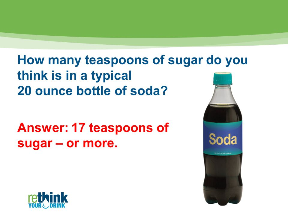 How many teaspoons of sugar do you think is in a typical 20 ounce bottle of soda.