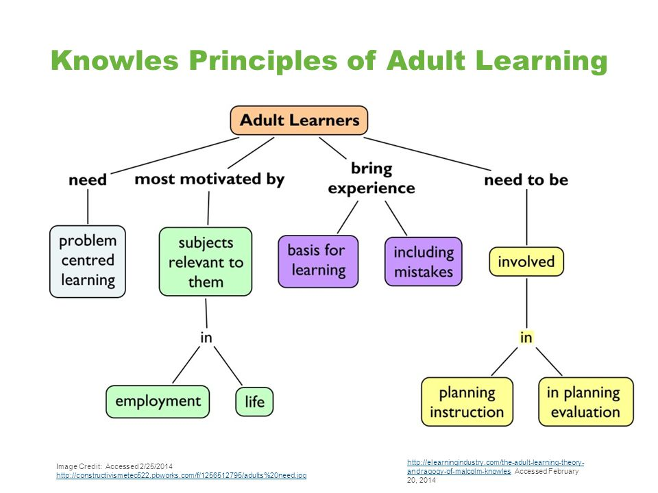Knowles Principles of Adult Learning http://elearningindustry.com/the-adult-learning-theory- andragogy-of-malcolm-knowleshttp://elearningindustry.com/the-adult-learning-theory- andragogy-of-malcolm-knowles Accessed February 20, 2014 Image Credit: Accessed 2/25/2014 http://constructivismetec522.pbworks.com/f/1256512795/adults%20need.jpg http://constructivismetec522.pbworks.com/f/1256512795/adults%20need.jpg