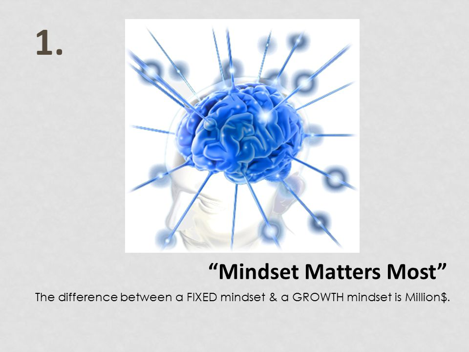 1. Mindset Matters Most The difference between a FIXED mindset & a GROWTH mindset is Million$.