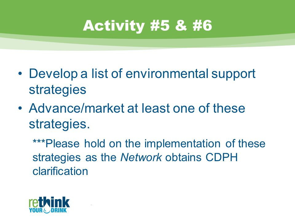 Activity #5 & #6 Develop a list of environmental support strategies Advance/market at least one of these strategies.