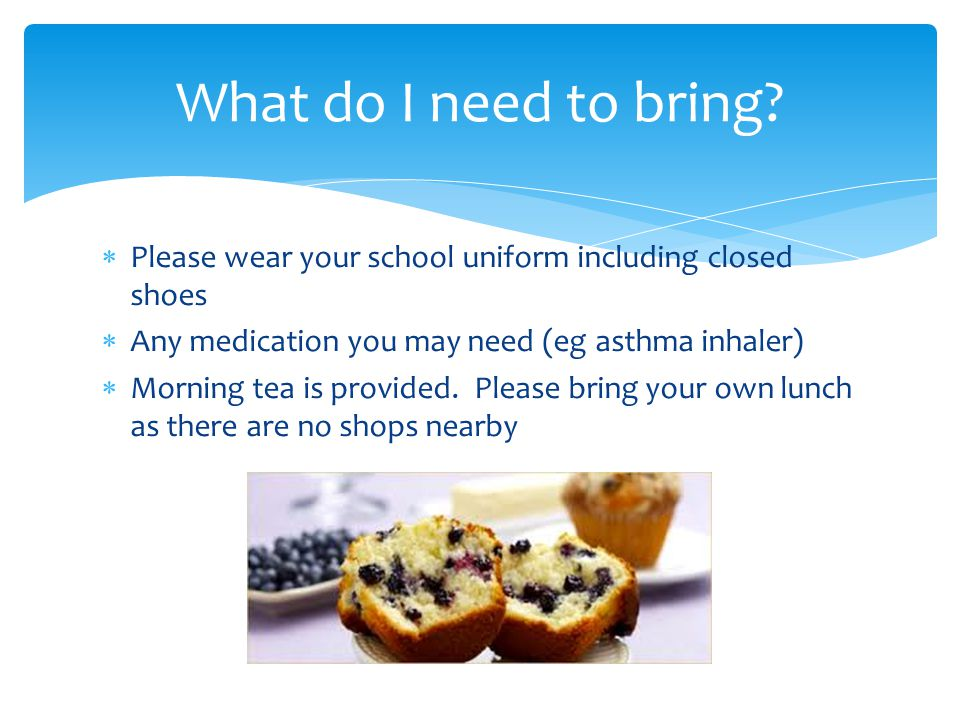  Please wear your school uniform including closed shoes  Any medication you may need (eg asthma inhaler)  Morning tea is provided.